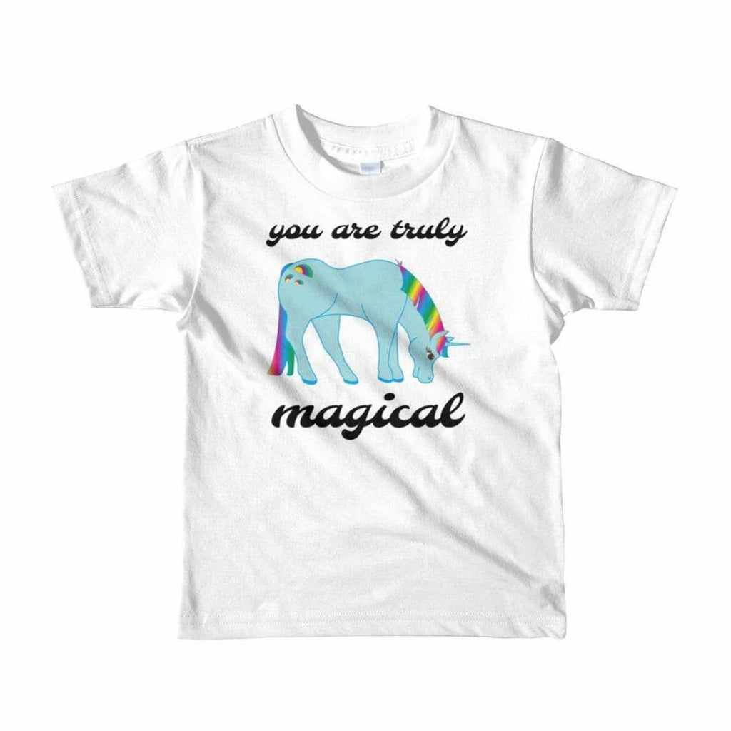 You Are Truly Magical - Blue Unicorn - Girls Tee T-Shirt - 2 to 6 Years - White / 2yrs