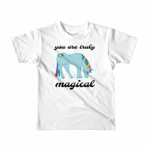 Image of You Are Truly Magical - Blue Unicorn - Girls Tee T-Shirt - 2 to 6 Years - White / 2yrs