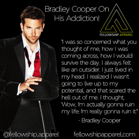 Bradley Cooper Sober Apparel Recovery Clothing Sobriety Gifts Sober Jewelry AA NA Necklaces T-Shirts Hoodies Tank Tops We Do Recover Addiction Apparel Addicted Addict Mental Illness Mental Health Mental Illness Awareness Drug Free Alcoholism Alcoholic Druggie Sober Living Bill W Bill Wilson Alcoholics Anonymous CA Fellowship Apparel