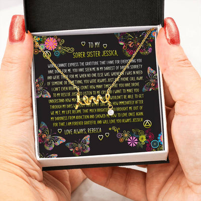 Love Scripted Necklace With Cubic Zirconia Stone | Fellowship Apparel