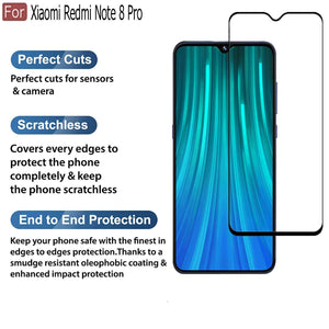 Redmi Mi Note 8 Pro Tempered Glass Screen Protector Guard with 9h Hardness Black