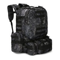 Outdoor 50L Military Rucksacks Tactical Backpack - Black Camo