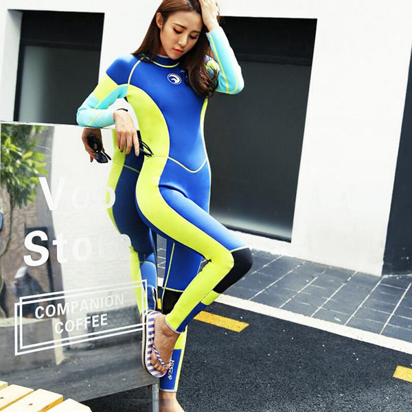 Womens 3Mm Neoprene Winter Warm Diving Suit Long Sleeve One-Piece Swimwear Diving Suit Snorkling Surfing Scuba Diving Wet Suits