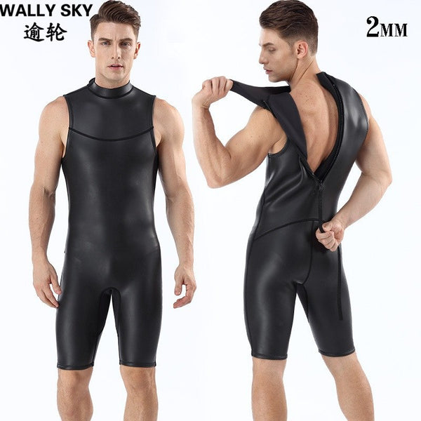 2mm Neoprene Men Diving Wetsuit Snorkling Suit Black One-piece Sleeveless Swimsuit Back Zipper Warm Smooth Skin Wetsuits Vests - Urban Bushy