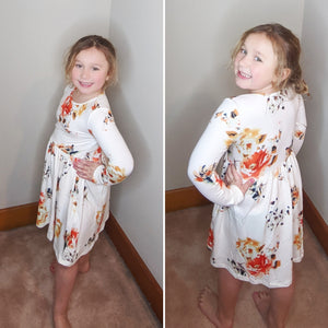 Floral White Swing Kids' Dress with Hidden Pocket