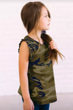 Green Camo Print Flounced Armholes Little Girls' Tank