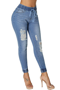Light Blue Denim Mode Distressed Jogger Pants