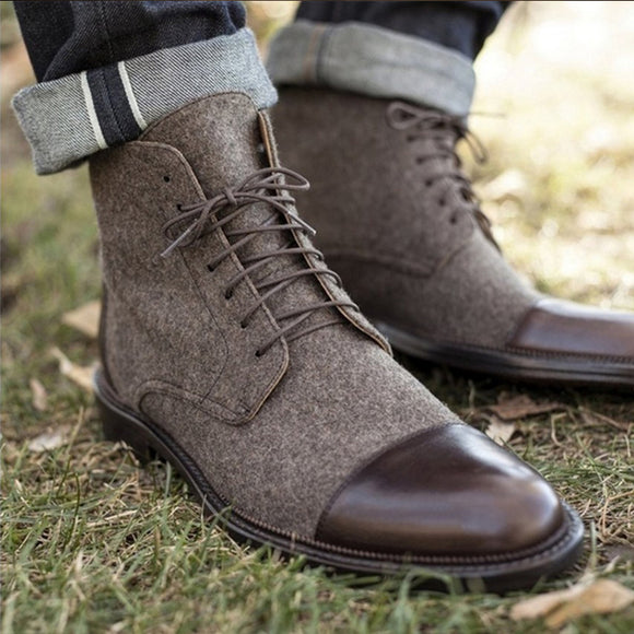 Men's Canvas Boots Mid-Calf Boots