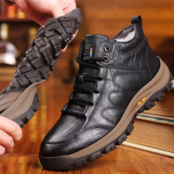 Men Leather Wool Fur Thick Boots(BUY 2 GET 10% OFF, BUY3 GET 15% OFF)