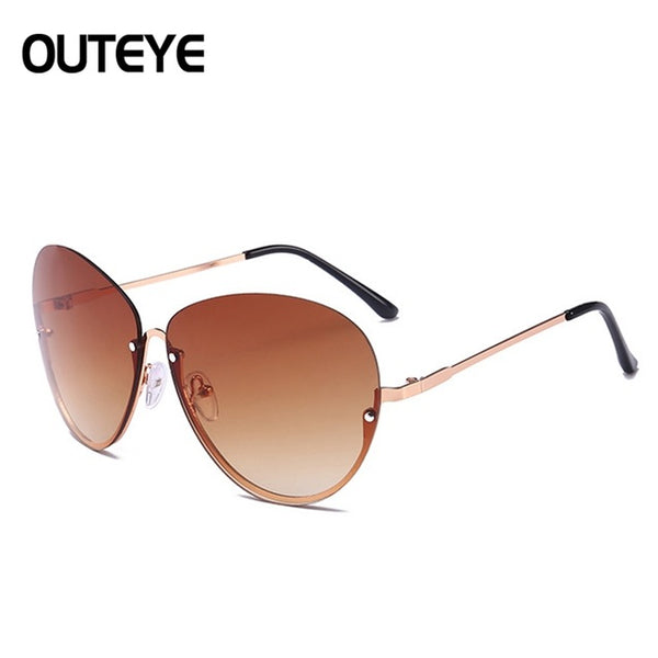 Sunglasses - Women Semi Rimless Oversized Oval Sun Glasses
