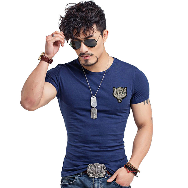 Men's Clothing - Spring Summer Men's Wolf Embroidery Cotton Tshirt