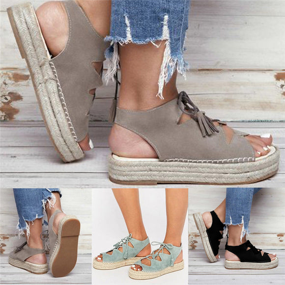 Women Comfy Lace Up Platform Flock Beach Sandals