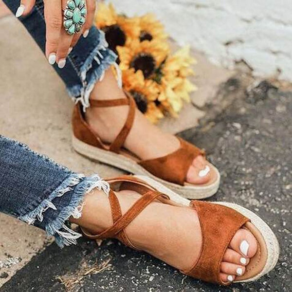 Shoes - 2019 Spring Summer Ethnic Bandage Straw Roman Sandals
