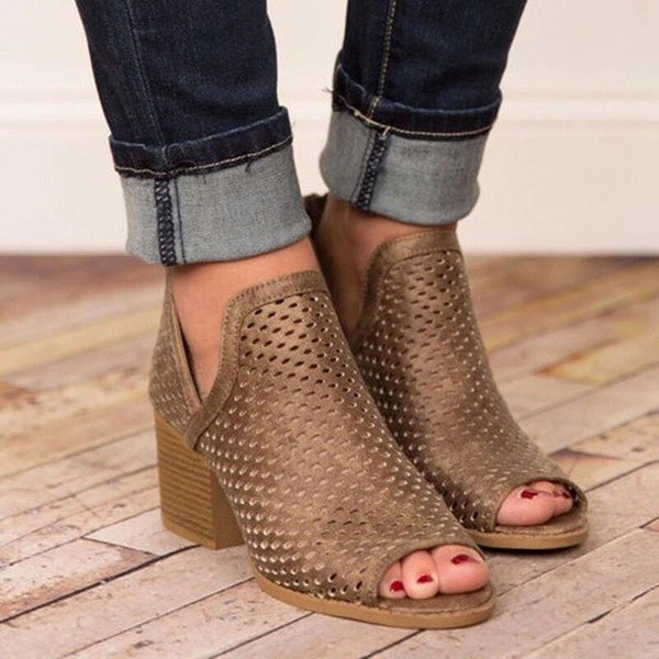 2019 Summer Women Hollow Fish Mouth Casual Sandals
