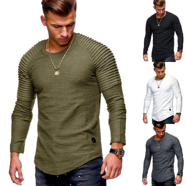 Men's Clothing New Fashion Men's Striped Fold Raglan Long sleeved T shirt