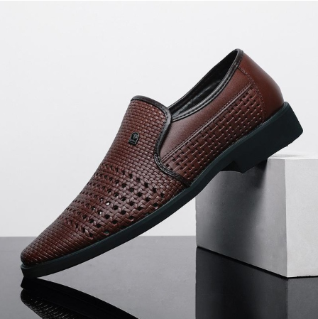 Hot Summer Breathable Middle-Aged Cut-Outs Slip On Shoes