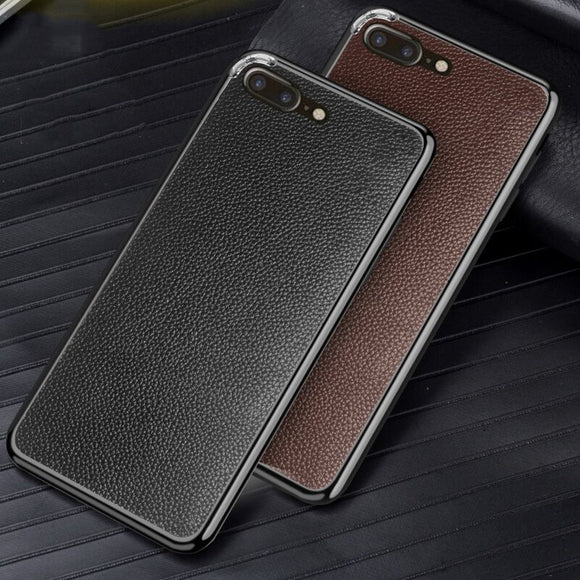 Luxury Genuine Leather Litchi Back Stickers Case for iPhone