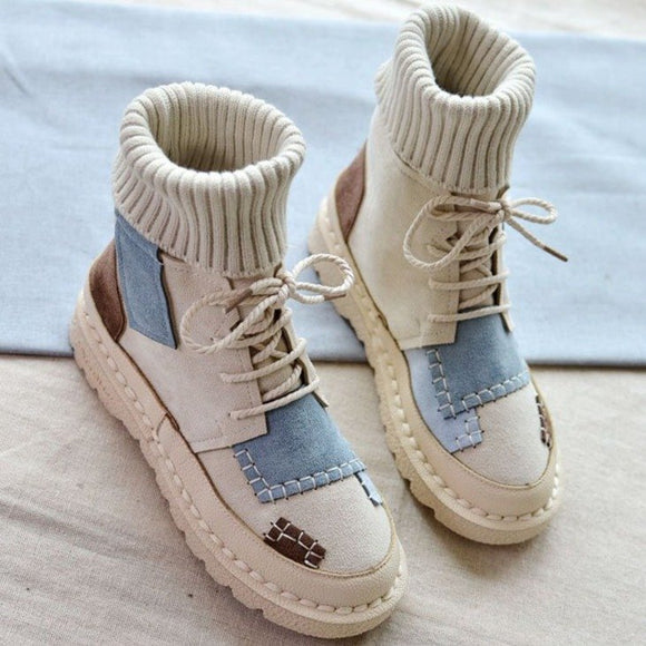 Shoes - Spring Autumn Explosions Suede Canvas Color Matching Wild High-Top Martin Boots
