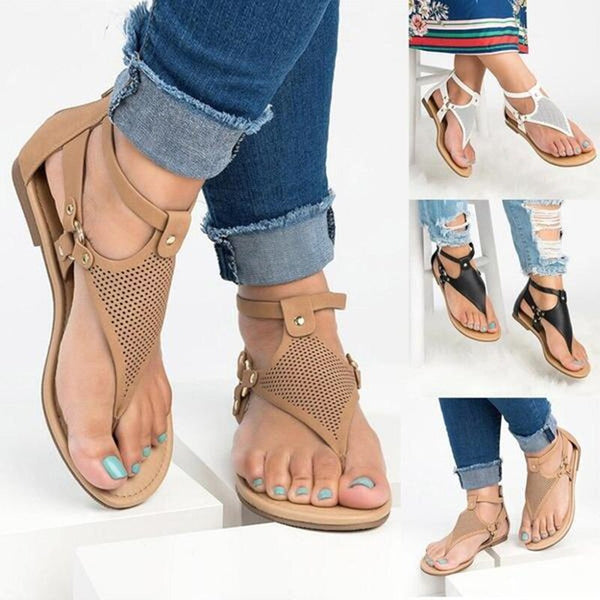 2019 Casual Rome Hollow Out Open Toe Zipper Flat Sandals
