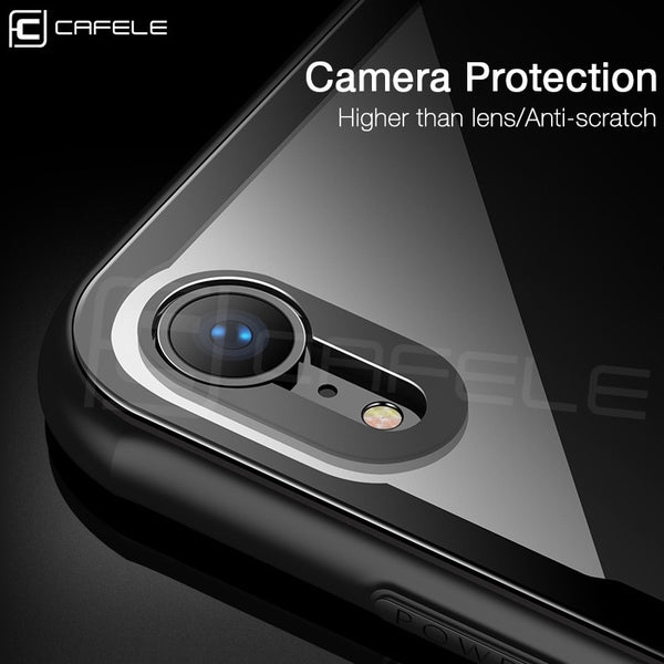Luxury Ultra Thin Slim Soft TPU Edge + Transparent Glass Case for iPhone XS Max XR X 8 7 Plus 6 6s
