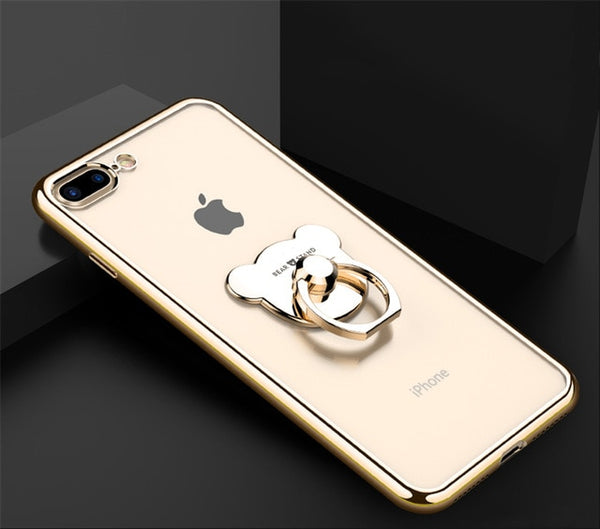 Cute Plating Case With Bear Ring for iPhone X XR XS MAX