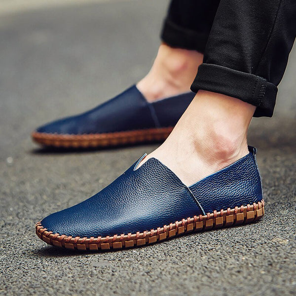 2019 Genuine Leather Handmade Soft Breathable Men Moccasins