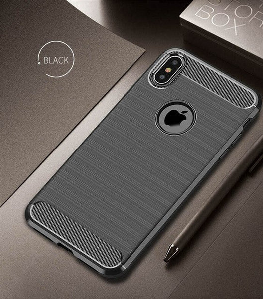 Heavy Duty Anti-knock Shockproof Silicone Carbon Fiber Phone Case For iPhone X/XS/XSMax