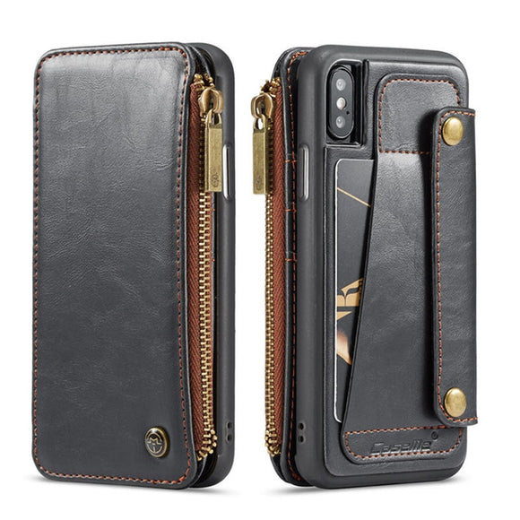 Leather Pocket Card Holder Flip Cover Case for iPhone X XR XS Max