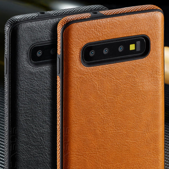 Vintage PU Leather Back Ultra Thin Case Cover for Galaxy S10 E S10 Plus