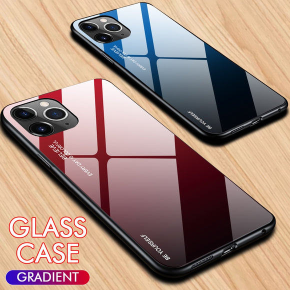 Tempered Glass Gradient Painted Case for iPhone Xs Max XR XS 11 Pro Max