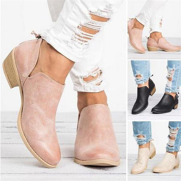 Women Slip-On Med High Heels Shoes