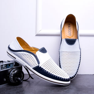 New Summer Hollow Out Breathable Leather Casual Shoes