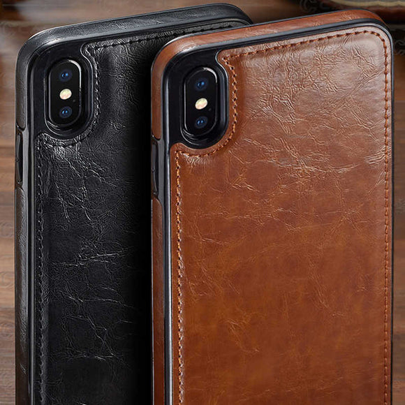 Vintage Leather Magnetic Absorption Back Cover for iPhone X XS XR XS Max