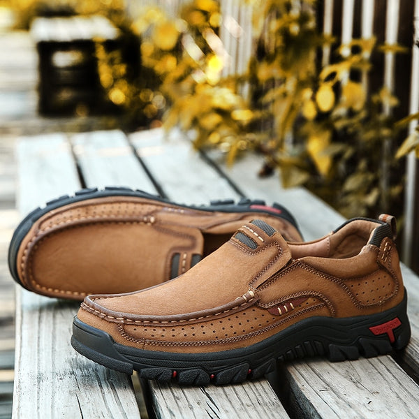 2019 Genuine Leather Men Solid Slip On Casual Shoes (Extra Discount:Buy 2 Get 10% OFF, 3 Get 15% OFF )