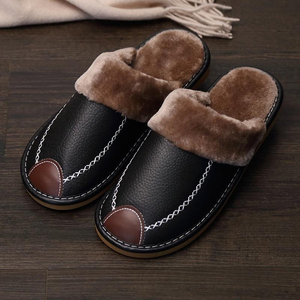 2020 Super Comfy Leather Waterproof Warm Slippers