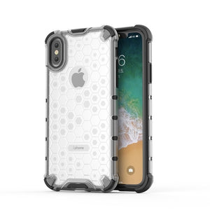 Phone Case - Honeycomb Pattern Clear Shockproof Armor Case for iPhone XS Max XR XS X