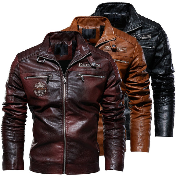 Men Winter Fleece Motorcycle Leather Jacket