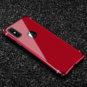 Phone Case - Ultra Thin Smooth PC Cover Aluminum Metal Frame Case for iPhone XS MAX XR X