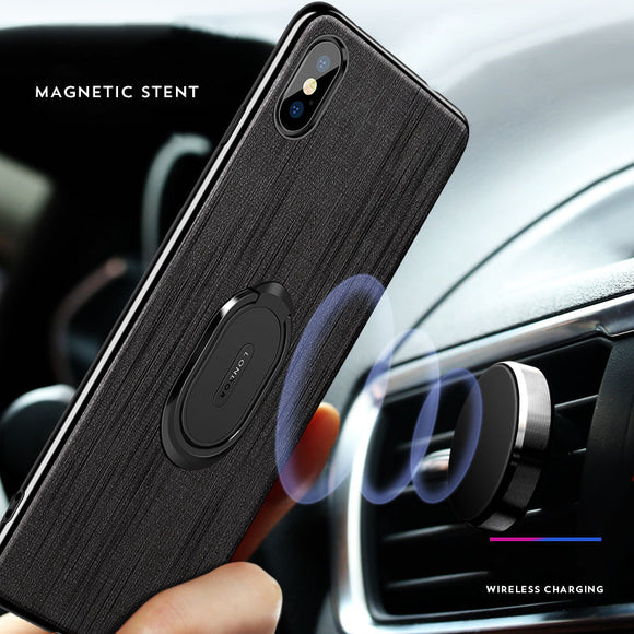 Phone Case - Ultra Thin Car Bracket Ring Magnetic Cloth Phone Case for iPhone X XS XR XS Max