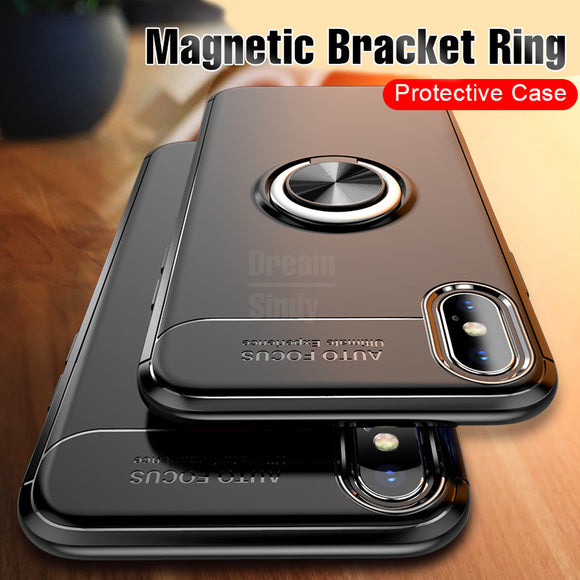 Phone Case - Luxury Car Bracket Ring Magnetic TPU Protective Case for iPhone X XR XS Max