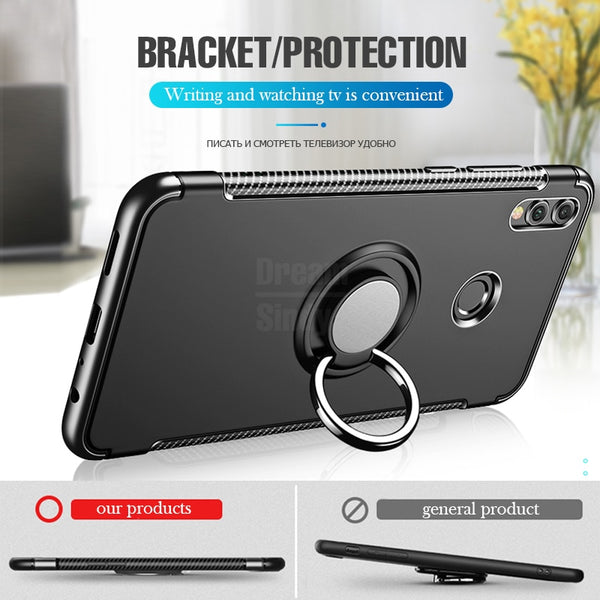 Luxury Car Holder TPU Shockproof Case For Honor 8X Max Huawei P10 P20 Mate 20 Lite Pro