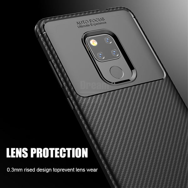 Luxury Carbon Fiber Silicone Soft Case For Huawei Mate 20 Pro Lite