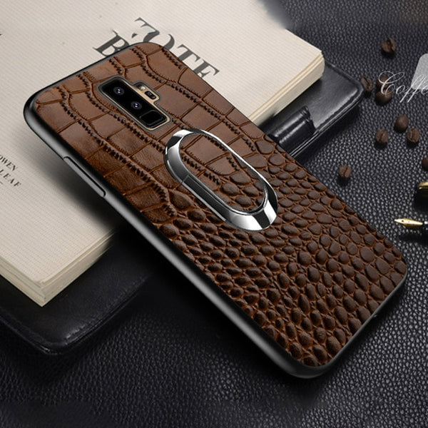 Luxury Crocodile Leather Car Magnetic Case for Samsung Galaxy S9 S8 Note 9 8