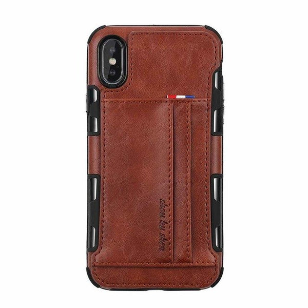 Retro Luxury Leather Card Case For iPhone X XR XS MAX