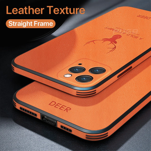 Luxury Leather Texture Square Frame Case on For iPhone 12