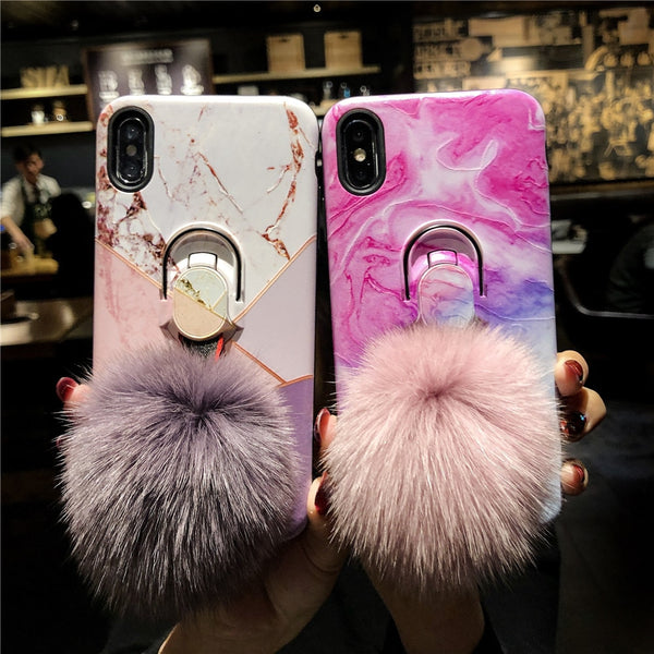 Luxury Marble Ring Bracket Strap Case For iphone 6 6S 7 8 Plus X XS MAX XR