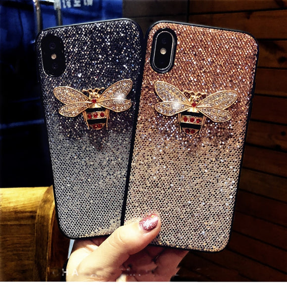Luxury Metal Diamond Bee Glitter phone case