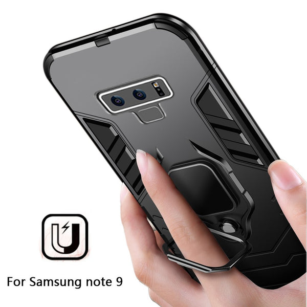 Luxury Shockproof Armor Case For Samsung Note 9 S10 S10E S10Plus Note 8 s8 plus with Car Magnetic Ring( No Mobile Phone Holders )