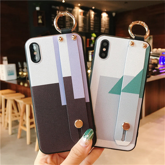 Luxury Simple Pattern Wristband Soft Case For iphone 6 6s 7 8 Plus X XS MAX XR