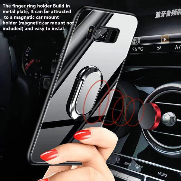 Shockproof Ultra-Thin Tempered Glass Protective Phone Case +Magnetic Ring Holder +Strap
